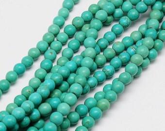 "Sea Green Natural Turquoise 8mm Round Gemstone Beads (15"" Strand)"