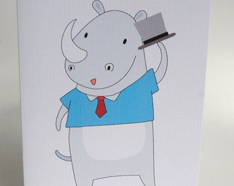 BIRTHDAY CARD BOY -- Hipster Rhino -- Greeting Card