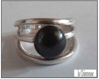 VINTAGE Sterling Silver RING /Bague vintage silver & Black Pearl / Ring Sterling Silver and Black Pearl.