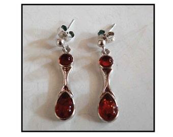 EARRINGS AMBER & SILVER / earrings silver and amber 80