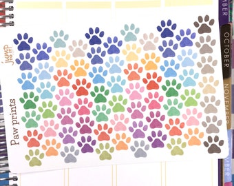 Paw Print Stickers (72) - for use with Erin Condren Life Planner Happy Planner Sheets - Dogs puppies cats kittens animals pets