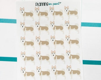 Tan Husky Dog Planner Stickers!