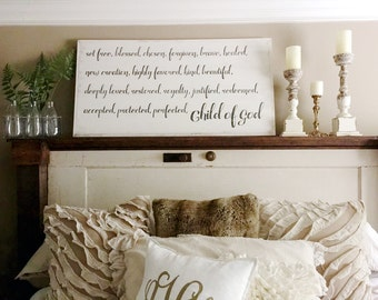 Child of God 4x2 Wood Sign with White Rustic Frame