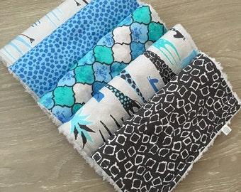 Blue Giraffe Burp Cloth Set