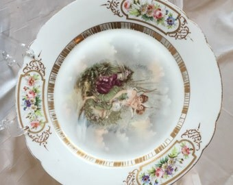 Bavarian Plate with Woman and Cherub, Gilt,  Flowers, ZR S&C