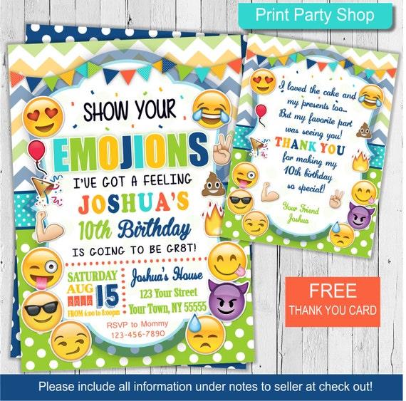 Boy Emoji Invitation Birthday Printable