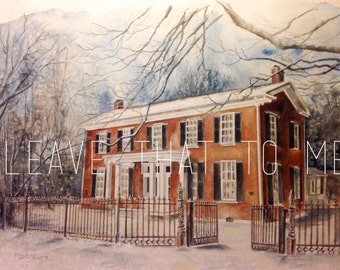 """11"""" x 17"""" Custom Watercolor House Rendering"""
