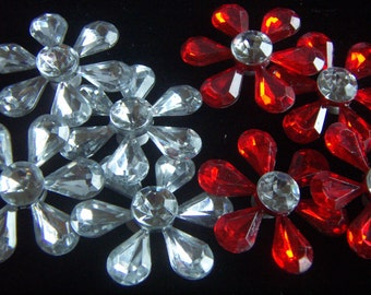 Rhinestone Embellishment Findings Flower Silver Plated Clear  or Red Rhinestone  Flowers 3pcs