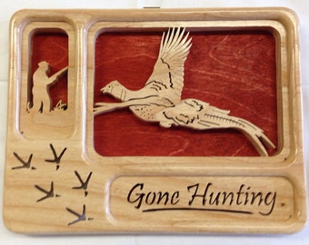 Self-Framing Gone Hunting Pheasant Plaque- Ash