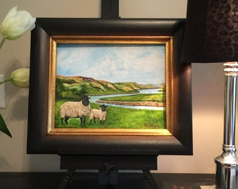 "Gift ,Sheep painting, landscape painting ""Grazing in Scotland"" paintings of sheep, small painting, oil painting, traditional art,"