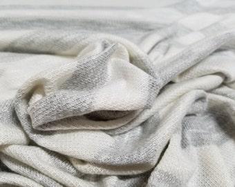 Off White/ Light Grey Slubbed Hacci Knit