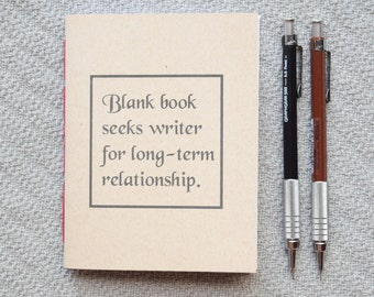 Blank book seeks writer Small blank kraft notebook