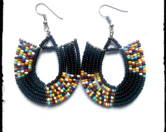 Maasai Earrings, African earrings, Kenyan earrings, Masai earrings, Masai jewelry, maasai jewelry, African jewelry, Black earrings(EA0004)