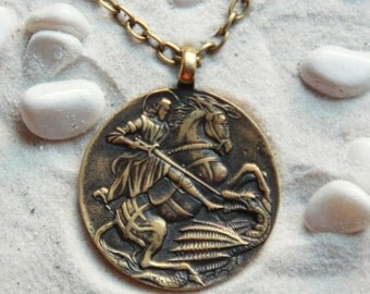 St.George the Victorious: Bronze Handmade Pendant with chain