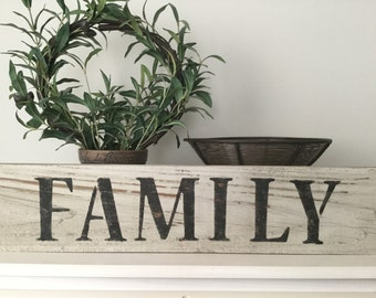Family sign, reclaimed wood family sign, rustic family sign, weathered family sign, hand painted sign on reclaimed wood, family wall decor