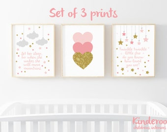 Pink, Grey and Gold Glitter Set    Baby Girls Nursery   Star, Heart and Cloud Prints   Set of 3   Watercolour Prints