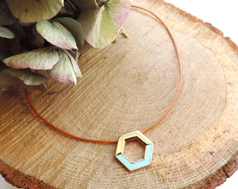 Mint Hexagon Choker, enamel, leather, pastel mint, gold, modern necklace