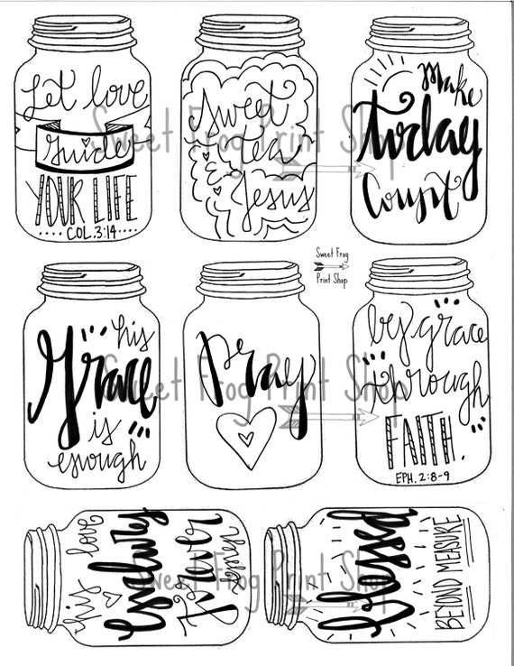 Line Art Journal : Mason jar tags instant download gifts bookmarks journaling
