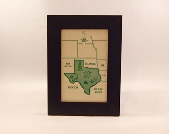 Texas framed vintage flash card