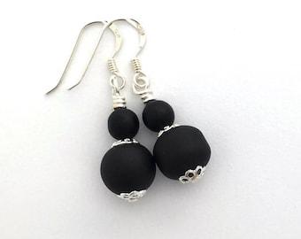 Matte black earrings / Czech glass earrings / delicate earrings / dainty earrings / everyday earrings / casual earrings / birthday gift