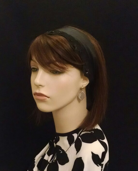 Soft leatherette and lace headband with short tails