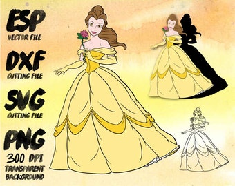 Disney Princess Belle Clipart , SVG Cutting , ESP Vectors files , T shirt , iron on , sticker ,Personal Use