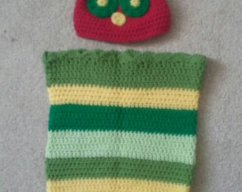 beautiful Hungry caterpillar cocoon & hat photo prop baby shower new baby gift