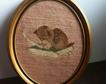 Vintage Needle Point - Kitten at Play - Gold Tone Oval Frame - Hand Made Cat Needle Point - Gift for the Collector