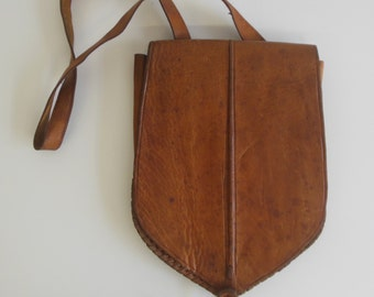 Beautiful Handmade Brown Leather Bag from the 1970s