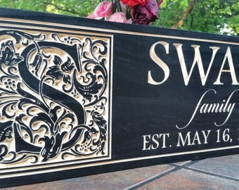 Family established wood sign, carved name sign, wood name sign, anniversary gift, wedding gift, family Christmas gift, Established sign