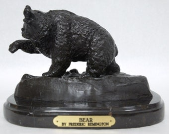 """Bronze """"Bear"""" Inspired by Frederic Remington Pure Bronze Collectible Sculpture Statue"""