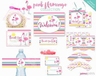 Instant Download Pink Flamingo Printable Party Collection, Flamingo Party Printables, Pink Flamingo Party Printable, Tropical Bird