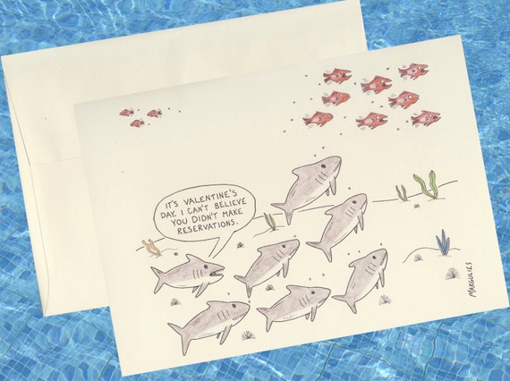 valentines day card shark - Funny Valentines Day Card Shark Card Valentine by