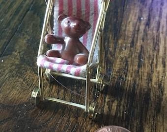 Vintage Dollhouse Stroller and bear