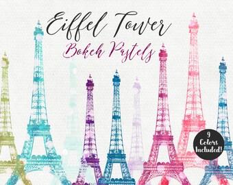 PARIS EIFFEL TOWER Clipart Commercial Use Clip Art Pastel Bokeh Dots Eiffel Tower Digital Images Paris Graphics French Eiffel Tower Clipart