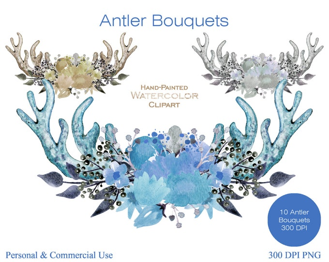 BLUE BOHO ANTLER Clipart Commercial Use Clipart Mint Gray Hand-Painted Watercolor Deer Antlers Floral Wreath Bouquet Bohemian Clip Art