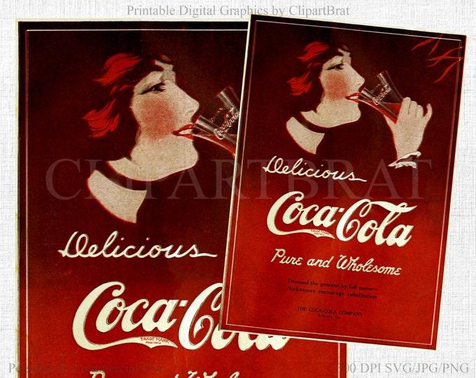 VINTAGE COCA COLA Digital Print Instant Download Digital Printable Art Graphics Coke Poster Antique Coca Cola Poster 1914 Coke Advertisement