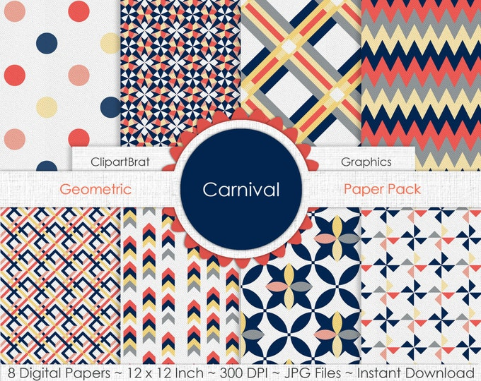 Carnival ORANGE NAVY & GRAY Digital Paper Pack Commercial Use Digital Background Papers Geometric Dots Plaid Chevron Arrows Digital Paper