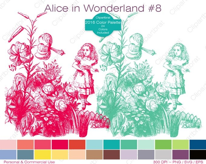 ALICE IN WONDERLAND Clipart Commercial Use Clipart Flowers Graphic 2016 24 Color Palette John Tenniel Digital Sticker Vector Png Eps Svg