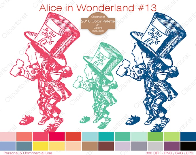 ALICE IN WONDERLAND Clipart Commercial Use Clipart The Mad Hatter Graphic 2016 24 Color Palette John Tenniel Digi Stamp Vector Png Eps Svg
