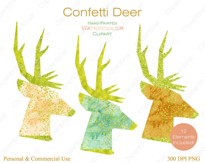 WATERCOLOR DEER Clipart Commercial Use Clipart 12 Watercolor Deer Head Graphics Citrus, Lime, Metallic Confetti Stag Buck Antlers Clip art