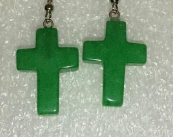 Green jade cross earrings