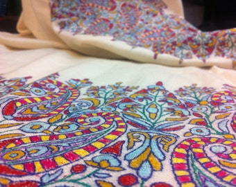 Exclusive Kashmir Embroidery Pashmina Shawls Almond Pal Dar