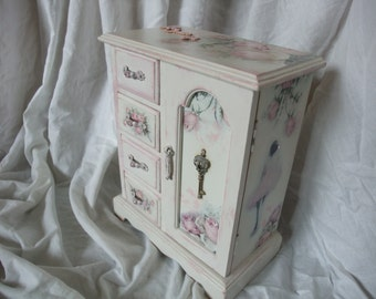 up cycled jewelry box,shabby chic jewelry cabinet,wooden decoupaged box,home decoration
