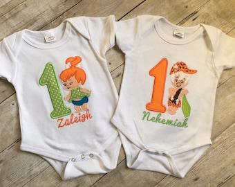 Bedrock Babes Birthday Embroidery Applique Onesie or Tee