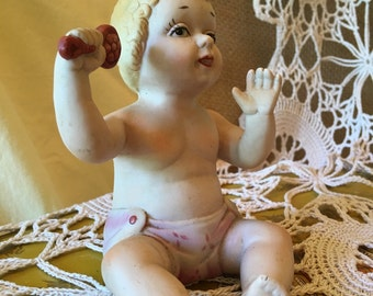 Adorable! Vintage Bisque Baby with Rattle