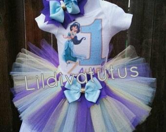 Handmade Princess Jasmine Tutu Set / Jasmine tutu set / Jasmine birthday outfit / Jasmine birthday shirt / Jasmine birthday tutu set