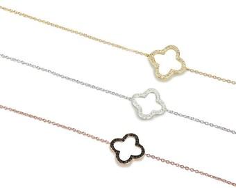 Open Clover Bracelet Cz 925 / Sterling Silver
