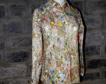 CONTESSA MONIQUE by Florence Alper sz 14 abstract print big collar shirt