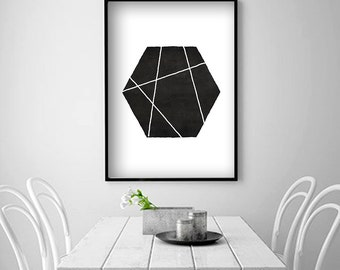 Scandinavian Geometric folk art Minimalist Printable Art Geometric Printable Black and White Art Nordic Artwork Hexagon Art Instant Download